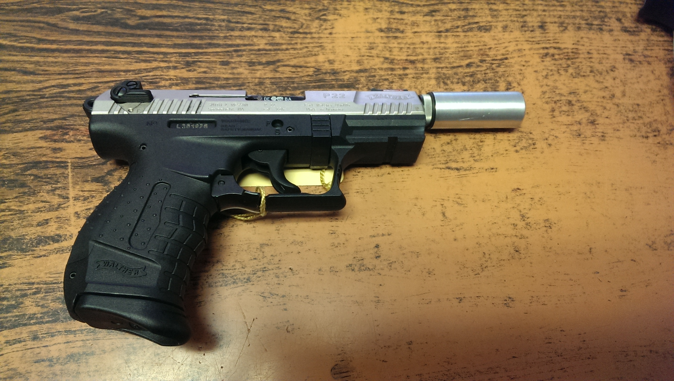 Walther P22 Nickel 22lr w/ Fake Suppressor - Pekin Gun and Sporting