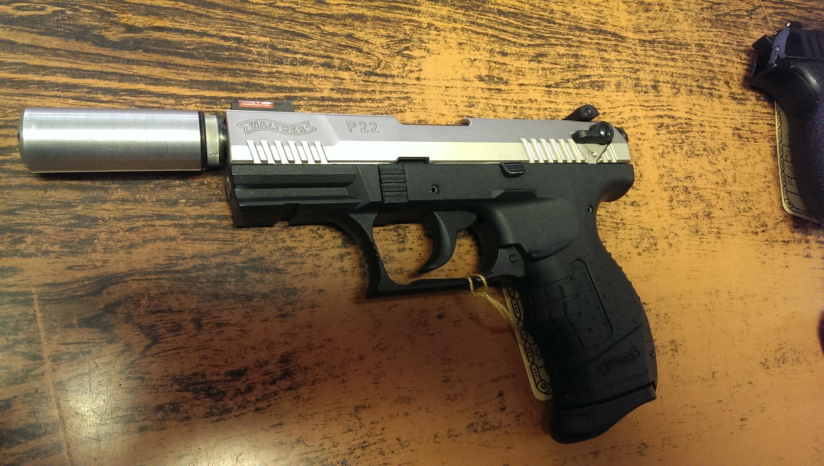 walther p22 nickel 22lr w fake suppressor pekin gun and sporting